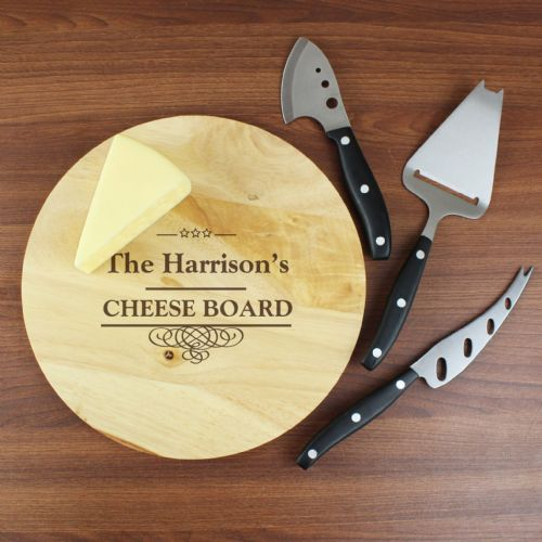 Personalised Cheeseboard with 3 Cheese Knives